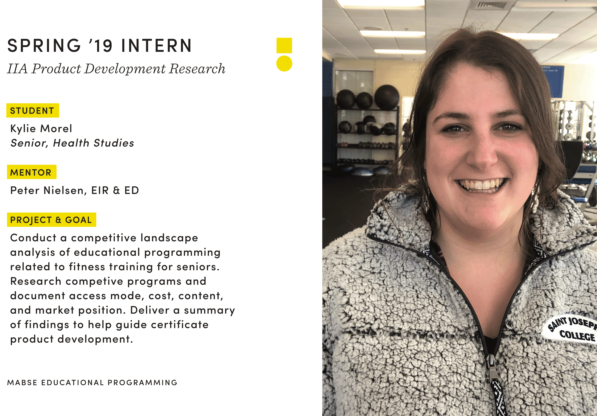 female students with graphic about internship