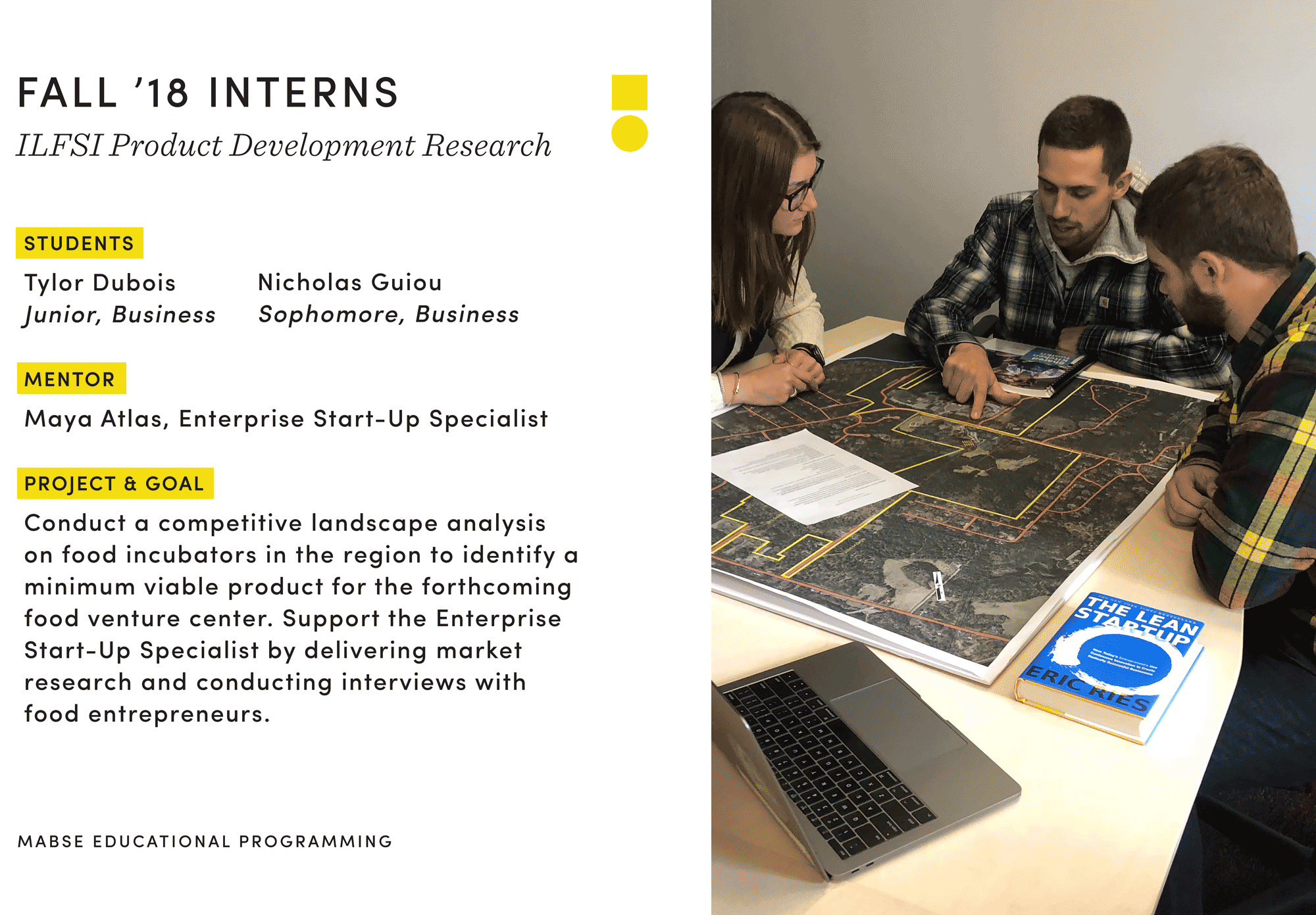 students work together and graphic about internship