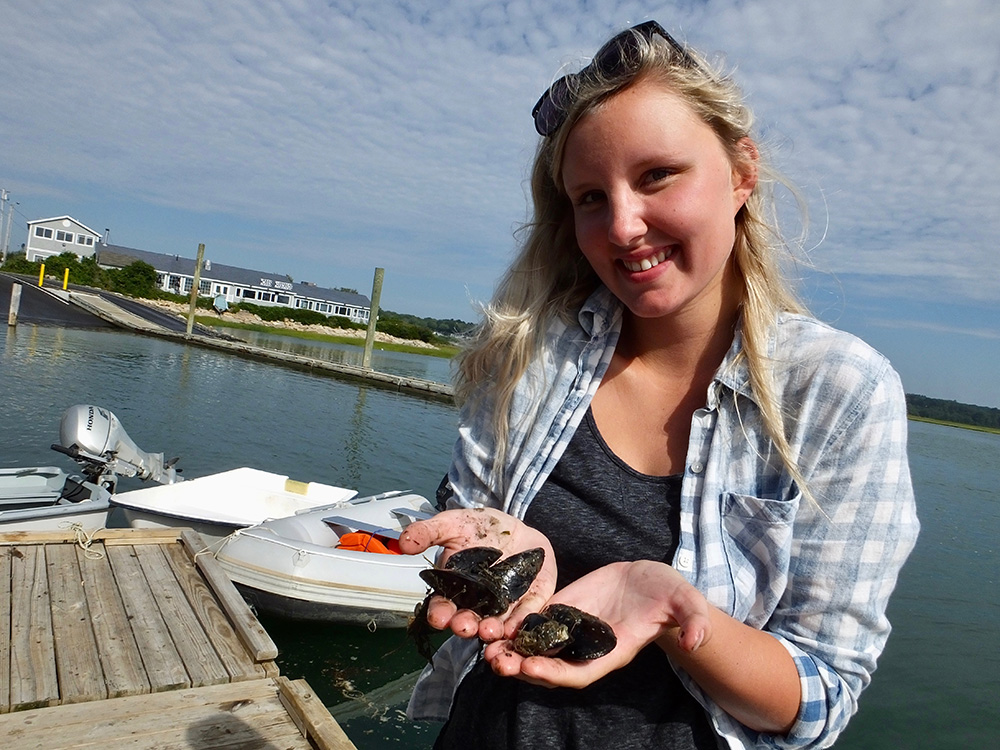 Brooke, a science student, holds some mussels she works with in Casco Bay.