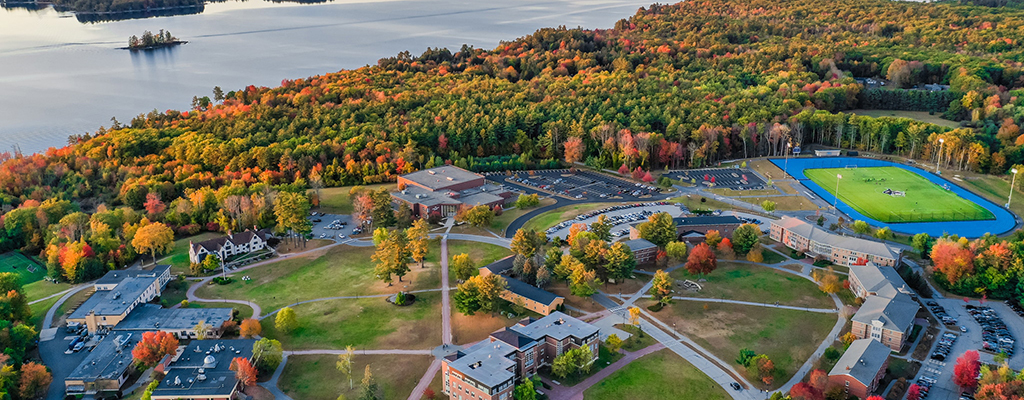 fall drone shot of campus